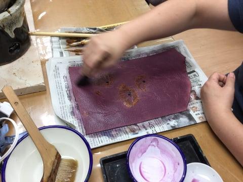 ろうけつ染花 レザークラフ教室 革工芸教室