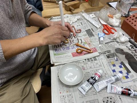 ト音記号ブローチ レザークラフト教室 革工芸教室