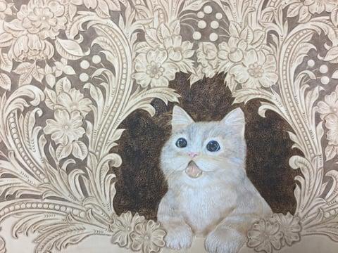 フィギュアカービング子猫着色3 レザークラフ教室 革工芸教室