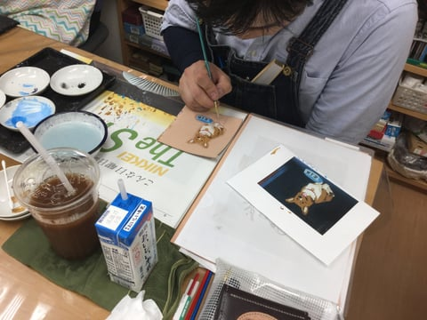 アニメ風着色 レザークラフト教室 革工芸教室