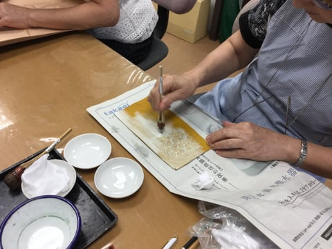 白拭き取り レザークラフト教室 革工芸教室