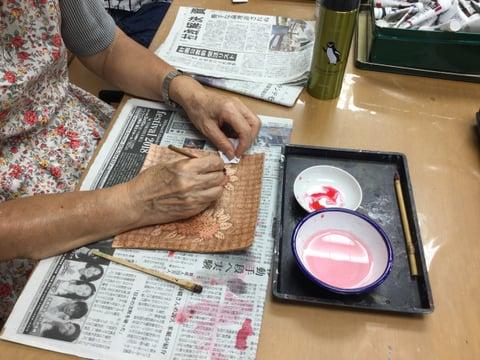 バーニング着色 レザークラフト教室 革工芸教室