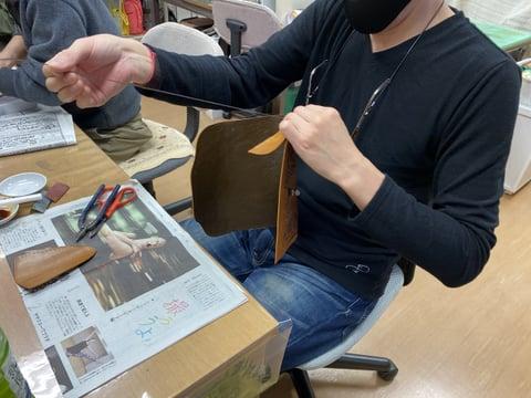 セカンドバッグレースかがり レザークラフト教室 革工芸教室