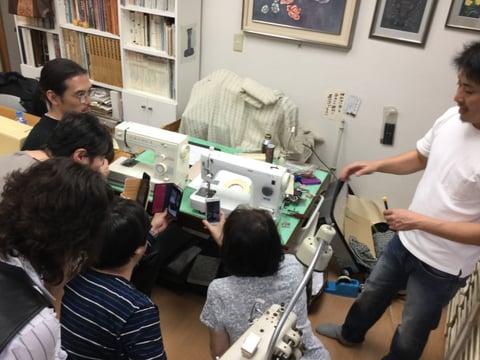 ミシン講習会説明中5 レザークラフト教室 革工芸教室