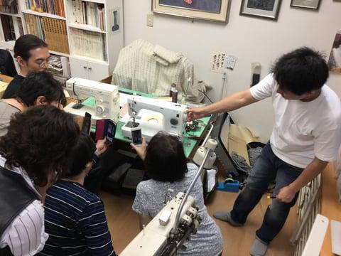ミシン講習会説明中6 レザークラフト教室 革工芸教室