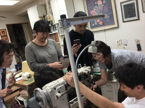 ミシン講習会説明中7 レザークラフト教室 革工芸教室