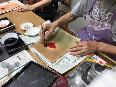 金彩画準備 レザークラフト教室 革工芸教室