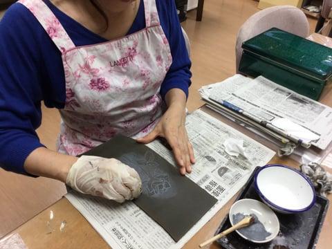 アクリルカラー拭き取り レザークラフト教室 革工芸教室