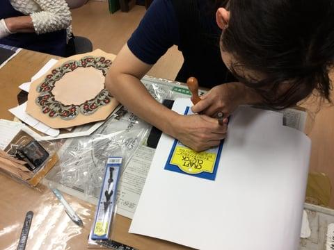 時計製作中 レザークラフト教室 革工芸教室