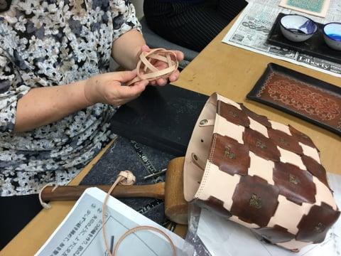 バッグ手紐編み レザークラフト教室 革工芸教室