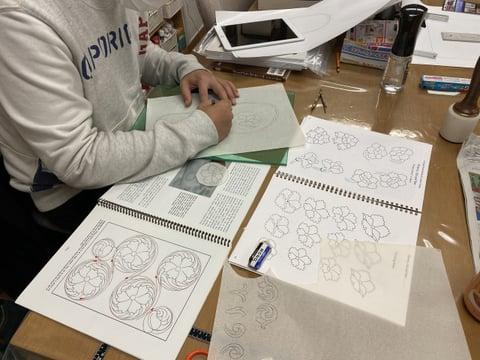 サンダル図案描き レザークラフト教室 革工芸教室