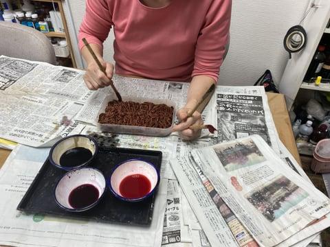 革の絞り染め レザークラフト教室 革工芸教室