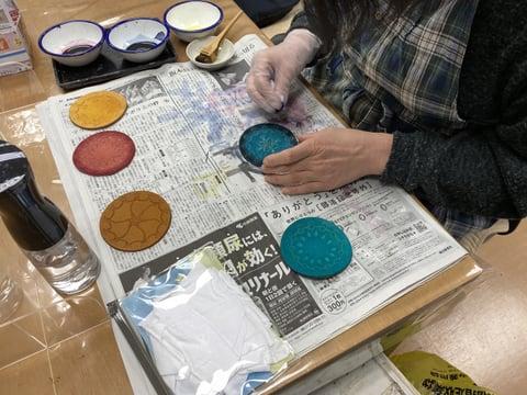 革のコースター レザークラフト教室 革工芸教室