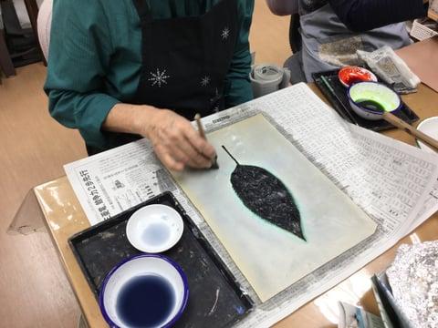 ろうけつ染め木の葉 レザークラフト教室 革工芸教室