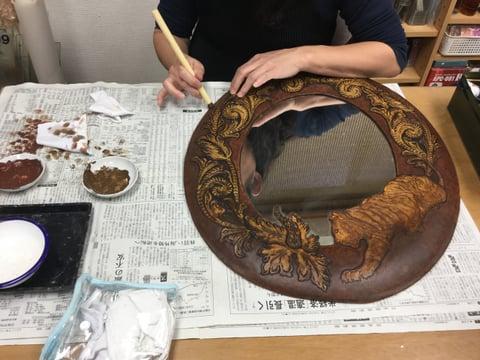 鏡リメイク レザークラフト教室 革工芸教室