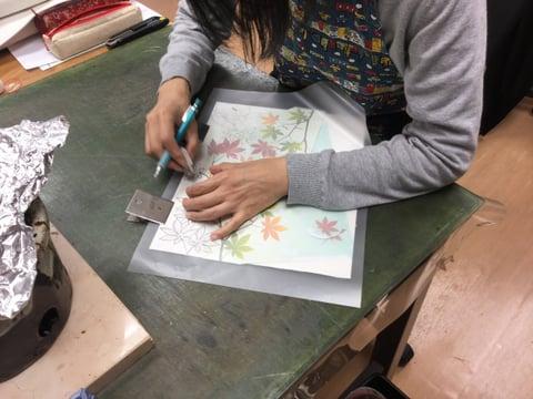 図案移し レザークラフト教室 革工芸教室