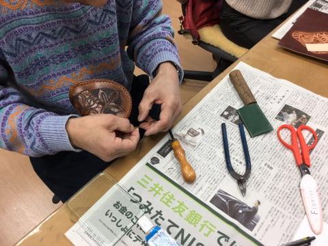 コインボックス かがり レザークラフト教室 革工芸教室