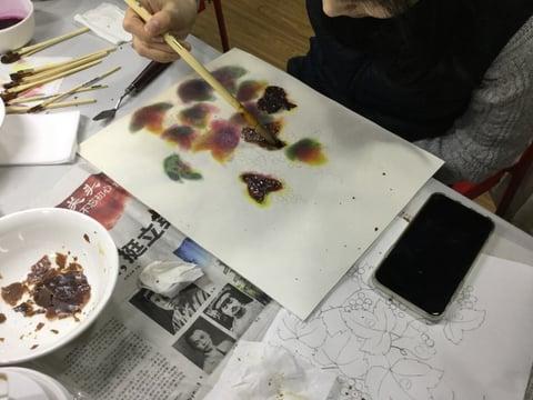 蝋を剥がす2 レザークラフト教室 革工芸教室
