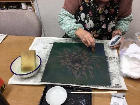 クッション染色 レザークラフト教室 革工芸教室