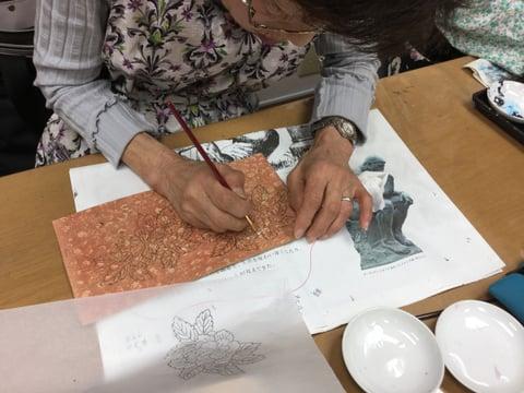 手描き レザークラフト教室 革工芸教室