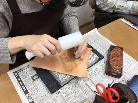 メガネBoxカービング レザークラフト教室 革工芸教室