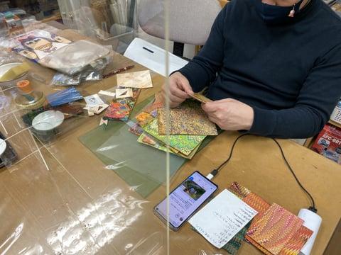 マーブル染めのアクセサリー レザークラフト教室 革工芸教室
