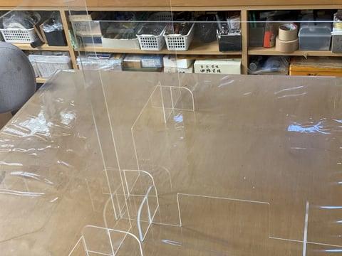 アクリルパーテション レザークラフト教室 革工芸教室