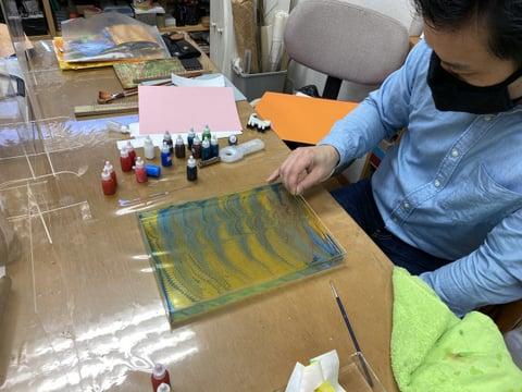 革のマーブリング レザークラフト教室 革工芸教室