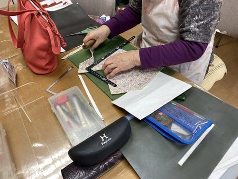 手書き更紗バッグ レザークラフト教室 革工芸教室