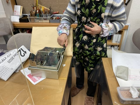 小物入れ革で内張り レザークラフト教室 革工芸教室