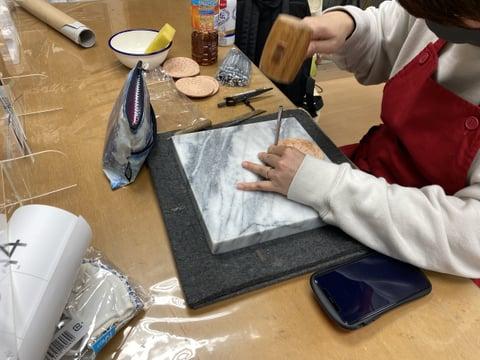 コースタースタンピング レザークラフト教室 革工芸教室