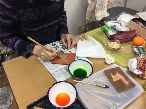小さな絵 レザークラフト教室 革工芸教室