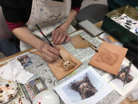 フィギュアカービング猫 レザークラフト教室 革工芸教室