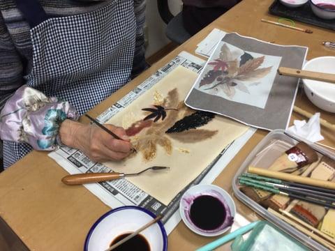 ろうけつ染木の葉 レザークラフト教室 革工芸教室