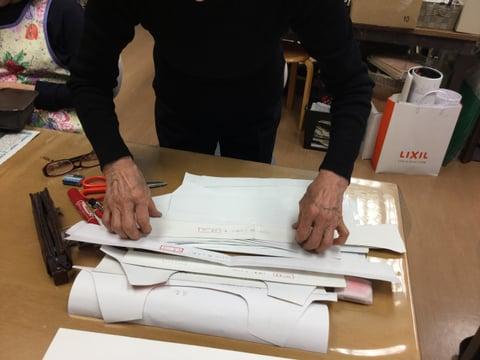キャリアバッグ型紙 レザークラフト教室 革工芸教室