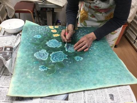 革絵 薔薇 レザークラフト教室 革工芸教室