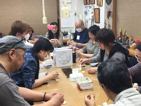 コバ講座講習風景 レザークラフト教室 革工芸教室