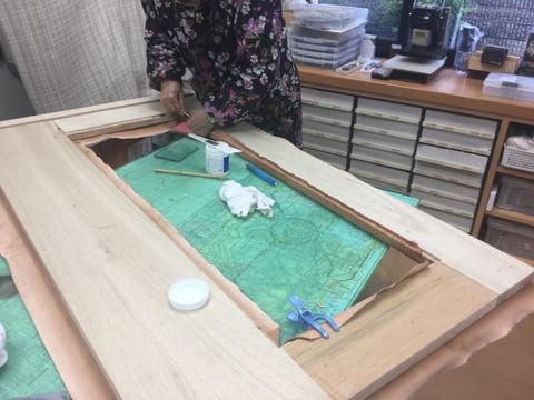 鏡貼り込み レザークラフト教室 革工芸教室