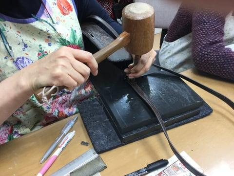 バッグ紐付け レザークラフト教室 革工芸教室