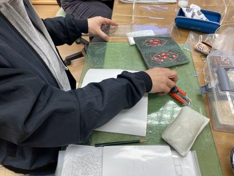 革と布のコラボ レザークラフト教室 革工芸教室