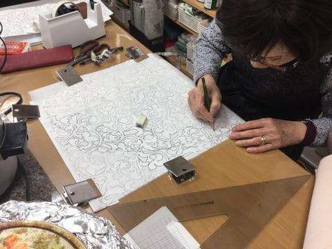図案描き レザークラフト教室 革工芸教室