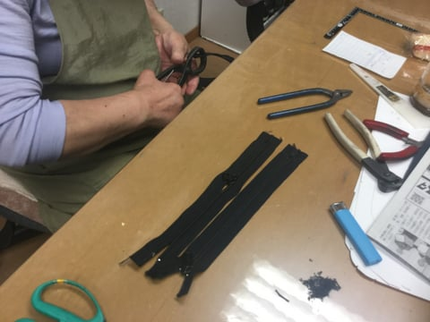 ファスナー作り レザークラフト教室 革工芸教室