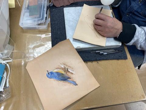 フィギュアカービング小鳥 レザークラフト教室 革工芸教室