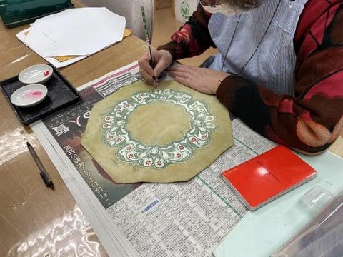 時計染色中 レザークラフト教室 革工芸教室
