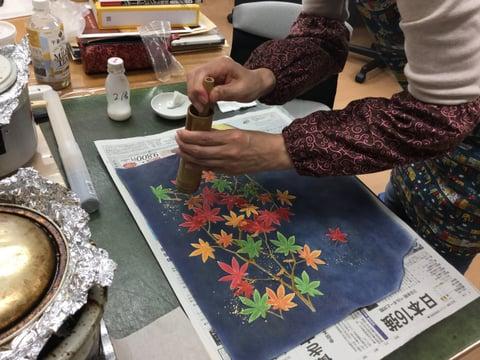 金箔撒き レザークラフト教室 革工芸教室