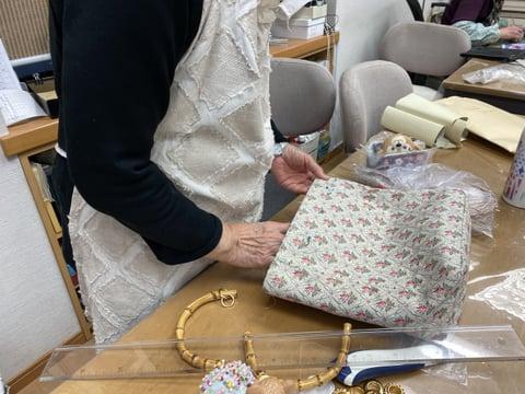 布のバッグ レザークラフト教室 革工芸教室