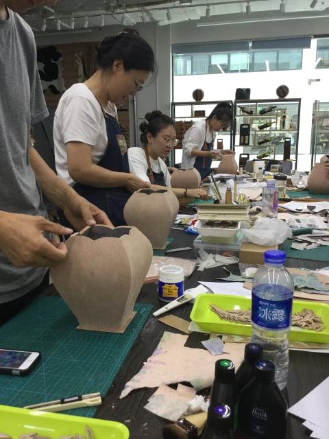 立体造形2日目底 レザークラフト教室 革工芸教室