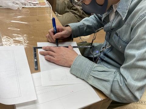 ダレスバッグ型紙 レザークラフト教室 革工芸教室