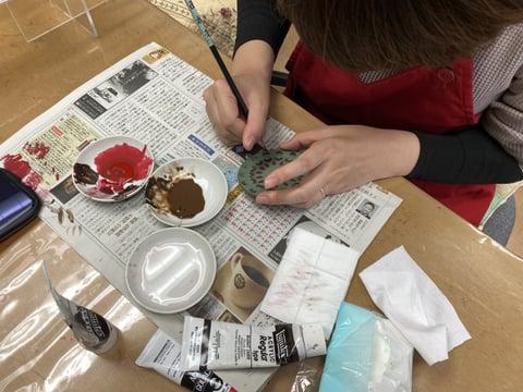 コースター染色 レザークラフト教室 革工芸教室
