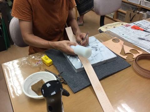 バスケットスタンプベルト レザークラフト教室 革工芸教室